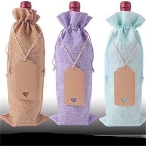 Tablo Hediye Paketleme ile asın Etiket 18Hz B2 Packaging 12pcs Moda İpli Çanta Kenevir Paketi Pocket Çanta Kırmızı Şarap Saklama