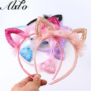 ABDO Детские аксессуары для волос Прекрасные Твердые кружева Mesh Блестки Cat Ears ленты для волос для девочек производительности Headdress Party ободки