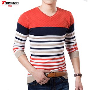 Men's Sweaters TONGMAO Sweater V-neck Long-sleeved Stripes Fight Color Pullover High-quality Brand Leisure Business