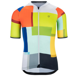 MEN'S GLASS TILES SE JERSEY 2020 Autumn short sleeve cycling clothing tops Colorful square pattern sport bike shirt COOLMAX