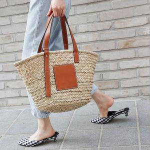 High Quality Straw woven bag Women Summer Shoulder Handbag Travel Palm Basket total bag summer beach bag
