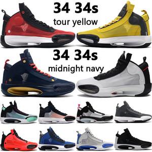 2020 novos 34 34s jumpman tênis de basquete academia excursão vermelho preto real âmbar aumento CNY eclipse das sapatilhas dos homens ao ar livre US 7-12