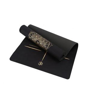 Jusenda 183X68cm 6mm Suede TPE-Yoga-Matten Sportmatten für Fitness Pilates Übungsgymnastikyogamatte dick mit Positionslinie