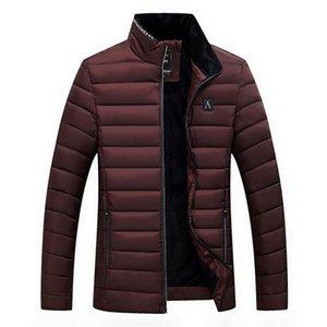 Slim Velvet Cotton Jacket Men's Warm Soild Stand Collar Winter Zip Coats fashion Casual Outwear #0912