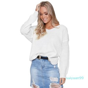 Hot Sale Sexy Women Deep V Neck Sweater European American Stylish Casual Loose Style Cross Wrap Long Sleeve Sweater Pullovers New