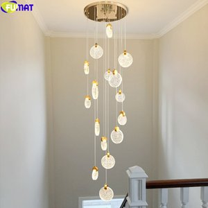 FUMAT Gold Coins Cash Cows Chandelies Big Long Hight Ceiling Light Crystal Bubbles Spiral Stair Drop Rain Villa Luxury Modern