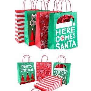 Joyeux Noël bonbons sac en toile Sacs cadeaux papier flocon de neige sacs d'arbre de Noël Sac d'emballage Cookie Bonne année 2020