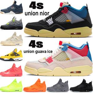 New Union noir guava ghiaccio 4 4s Jumpman scarpe da basket bianco x vela SE Neon denim gioco reale punch caldo mens scarpe da tennis