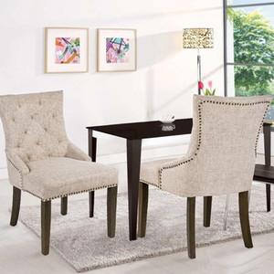 US Stock 3-5 jours livré CHAISE Loisirs rembourrée Chaise avec accoudoirs Nailed Garniture Beige Set de 2 WF010762AAA