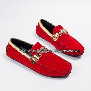 2020 sonbahar erkek deri ayakkabı moda deri kırmızı erkek ayakkabı mokasen zamanki rahat kayma-on gençler siyah düz