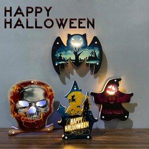 Ambiente de Halloween Calabaza decorativa Luz Castillo Bat Cráneo del fantasma de la pared decorativos Adornos Feliz Halloween decoración de la barra