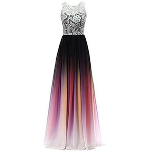 Sheer Sweetheart Neckline Ombre Chiffon Evening Gown with Lace Motif Long Formal Occasion Pageant Dresses