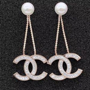 Nunca enfraquecendo longa borla partido brinco de diamante para mulheres dos homens 18K ouro preto rosa cheio dangle brincos mate amantes casamento EUA projeto