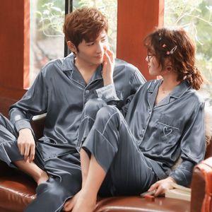 Роскошные пара пижамы Установить Женщины Мужчины Шелковый пижамы Любовь вышивки атласные пижамы весна осень пижама Мужчины Главная Пижама