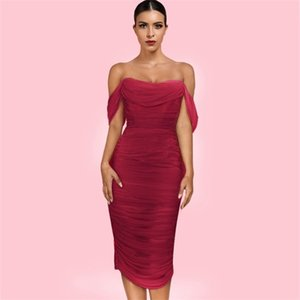 Ocstrade Wine Strapless Mid Sleeve Over Knee Lace Bodycon Dress H0229-Wine0924
