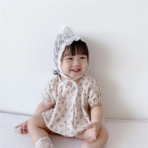 Baby Girl Summer Romper New Born Clothes Set Toddler Floral Rompers Princess Lace Hat 2PCS Photo Props Infant Outfits