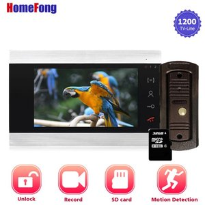 Video Door Phones HomeFong Sistema de intercomunicación de 7 pulgadas con sensor de movimiento Timbre Terebell Cámara Registro Desbloqueo Día Noche