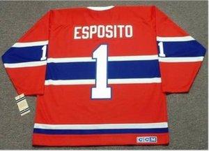 las mujeres de Hombres jóvenes Vintage # 1 Esposito, Tony Montreal Canadiens 1968 CCM Hockey Jersey del tamaño S-5XL o costumbre cualquier nombre o un número