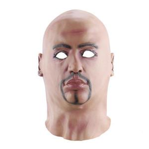 Engraçado o Dia das Bruxas criativa realista cabeça descoberta Lifelike Man Máscara Masquerade suprimentos Costumes Partido Props Cosplay T200116