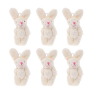"6PCS 2"" Mini Rabbit Pendant Plush Bunny For Key Chain Kids Toy Doll DIY Ornaments Gifts Party Favors MAY-9"