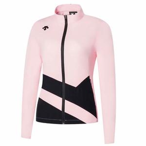 النساء DESCENTE جديدة طويلة الأكمام الرياضة جولف سترة الربيع الخريف غولف ملابس الحماية أوقات الفراغ في الهواء الطلق الرياضة رقيقة الشمس جولف سترة واقية