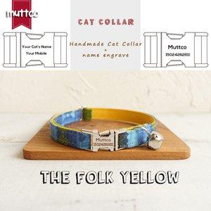 MUTTCO تجارة التجزئة عالية الجودة طوق اليدوية مع ربطة الانحناءة القوم الأصفر نقش طوق القط 2 الأحجام UCC024