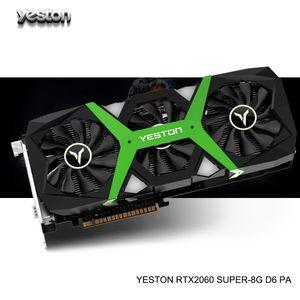 Yeston GeForce RTX2060 GPU Surer 8GB GDDR6 256 bit computador Gaming PC Desktop Video Graphics Cards DP / DVI-D / HDMI PCI-E X16 3.0