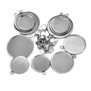 20pcs Lot Stainless Steel 20 25 30mm Round Pendant Cabochon Base Settings Blank Tray For Necklace Jewelry Making DIY