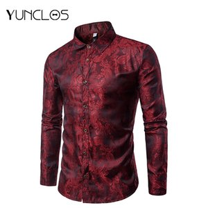 Men's Paisley Shirts Fit Floral Print Casual Shirt Long Sleeve Formal Dress-up Or Wedding Shirts for Men Chemise Homme S- 3XL 200925