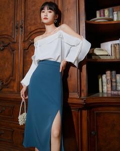 re45T MYmDT s hohe Taille geteilt neue A- LINE DRESS Schürze Schürze Damen Mid-Länge 2020-Sommer-Rock elegant abnehmen A- Linie Kleid Hüfte-covered