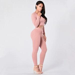여성 운동복 새로운 트렌드 후드 분홍색 섹시한 니트면 운동복은 짧은상의와 긴 바지 탄성 슬림 졸라 매는 끈 스포츠를 설정 후드