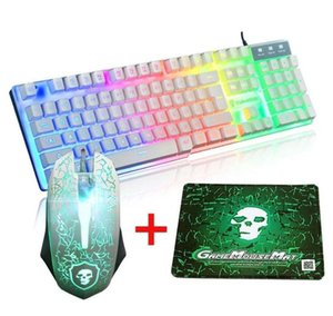 2400DPI Optical Gaming Mouse Sets USB Wired Gaming Keyboard Pads LED Rainbow Backlit Ergonomic for Gamer PC Computer