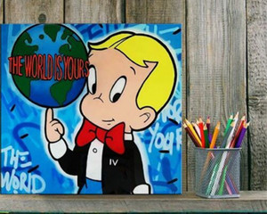 Alec Monopoly Banksy The World Is Yours Home Decor Handcrafts  HD Print Oil Painting On Canvas Wall Art Canvas Pictures 200817