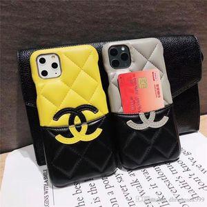 Luxury Fashion Paris Show Phone Case для Iphone 11 PRO MAX X XR Xs Max 6 S 7 8plus Real Leather Protect Case Держатель карты Дизайнер телефон Case