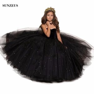 Long Black Girls Party Dress Ball Gown Sweetheart Sequined Tulle Flower Girl Dress Kids Evening Prom FLG057