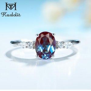 Kuololit Овальный 6х8 лаборатория выросла Александрит Gemstone кольцо для женщин 925 Silver Luxury Ring для Anniversary Engagement подарков