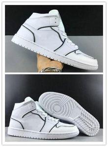 1 WMNS Mid SE Iridescent Reflective Men Basketball Designer Shoes White Black I Fashion Sport Zapatos 1s Sneakers