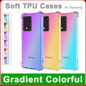 À prova de choque Caso Air TPU para Samsung S10 M10 20 30 Nota 8 9 10 Gradient cor de volta capa mole Casos transparentes