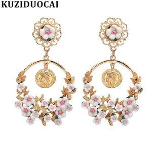 Люстра свисания Кузидуокай мода ювелирные изделия Boho Цветы Большой круг 6 Цветов Заявления Серьги для женщин Brincos Aretes Bijoux A-15