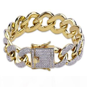 18K Real Gold Planted Miami Cuba Link Bracelets Hip Hop Full Zircon Iced Out Men Bracelets