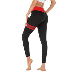Yeni uyluk Sıkı yoga pantolonları çift halka kontrast renk yoga pantolonları yüksek elastik tozluk L2060