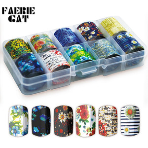 10 Rolls Box Nail Transfer Foils Charm Flowers Europe Letter Nail Stickers Starry Paper Daisy Leopard Decal Art Decorations