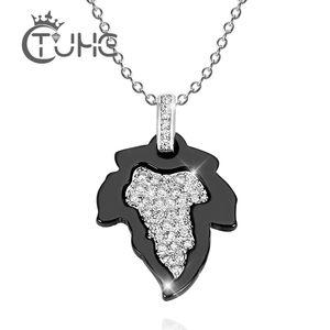 2020 Black White Leaf Necklace Shiny Rhinestone Handmade Ceramic Necklace Jewelry Accessories Canada Pendant
