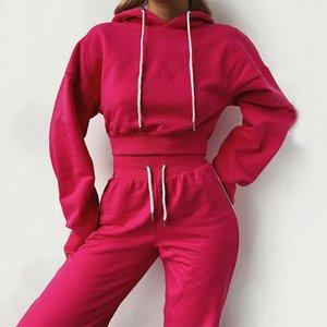 Women's Hoodies Suit Set Lace Up Slim Drop Shoulder Sleeve Women's Set Sports Suit Pants Jogging Autumn 2020 Women