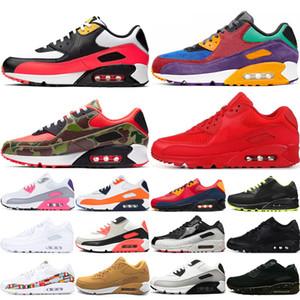 Hot sale hommes 90 Tênis Chaussures on-line mulheres Designers preto branco amarelo rosa Zapatillas Esporte Correndo Ao Ar Livre Sapatos de Jogging 36-45