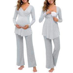 Nuovi Infermieristica maternità biancheria da notte Maglia a manica lunga di maternità Baby T-shirt Tops + Pants Pajamas Set Suit pijama embarazo @ 47 T200808
