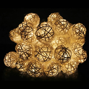 LED Wholesale Supplier Battery Operate Mini Rattan Balls Outdoor String Light