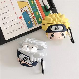 Custodia per AirPods Custodia per auricolari del fumetto per Apple Airpods 2 Accessori carini Proteggere il coperchio con portachiavi 3D Naruto Anime Kakashi