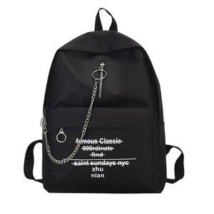 Printed female alphabet print backpack shoulder bag fashion trend chain double shoulder bag #Zer