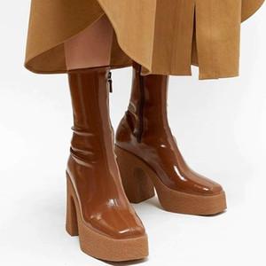 الكعوب الجديد سوك أحذية تمتد مثير أحذية عالية المرأة منصة أحذية مدرج الخريف الشتاء الأحذية النسائية أحذية الجوارب